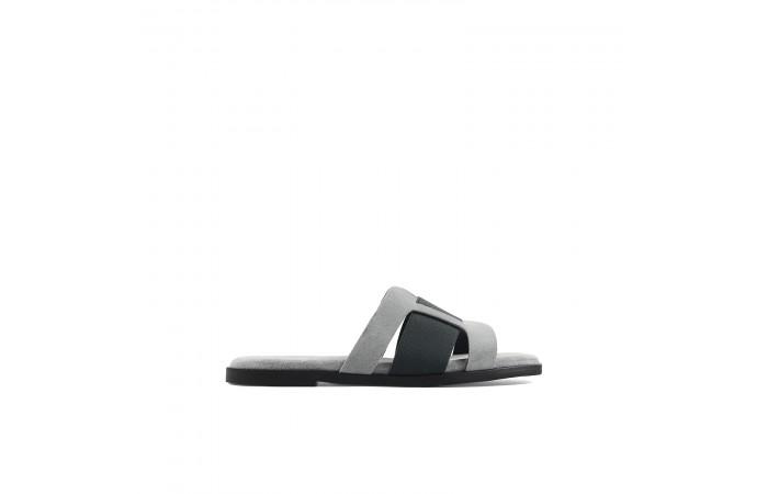 Gray flat cassandra sandals