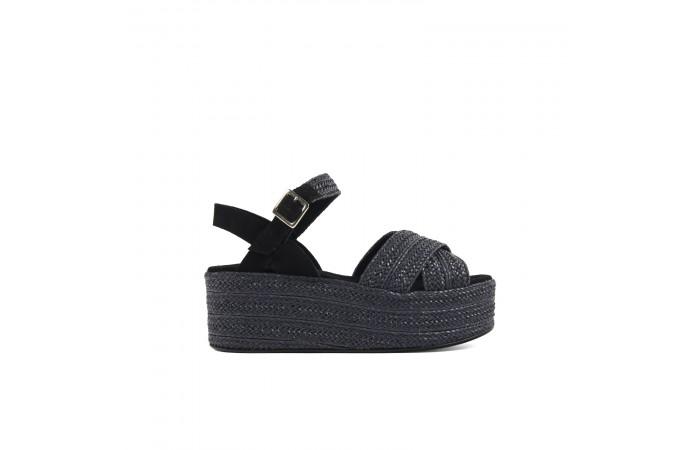 Black braided platform sandals