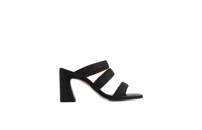 Black strappy mules