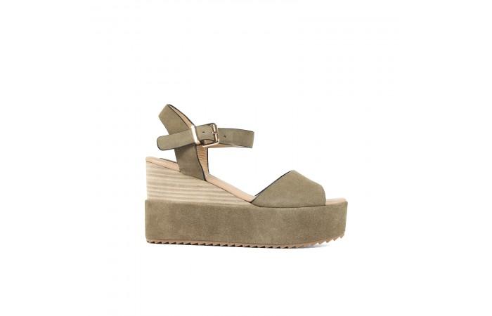 Khaki platform sandals
