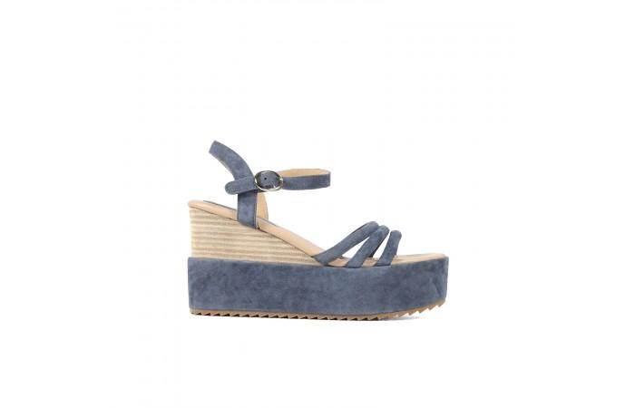 Navy platform sandals